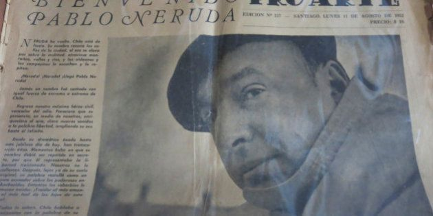 The copy of an old newspaper featuring Chile's Nobel-Prize winning poet Pablo Neruda is seen in his home...