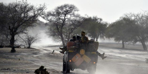 Nigerien soldiers patrol in Bosso, near the Nigerian border, on May 25, 2015. Niger has extended for...