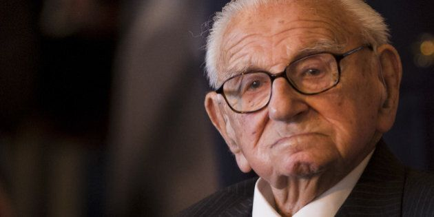 PRAGUE, CZECH REPUBLIC - OCTOBER 28: Sir Nicholas Winton attends a ceremony to receive the Order of White...