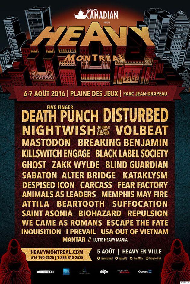 Heavy Montréal 2016: Disturbed, Nightwish, Volbeat...