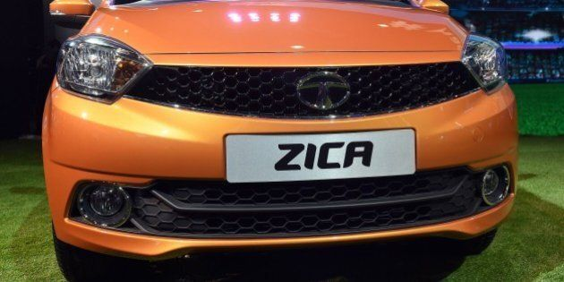 Tata Motors' new hatchback car 'Zica' is seen at the Indian Auto Expo 2016 in Greater Noida on the outskirts...