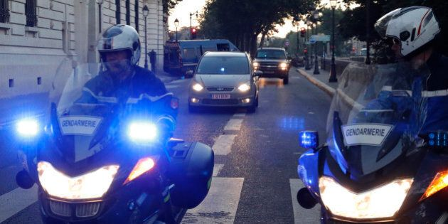 A vehicle believed to transport Paris attacks suspect Salah Abdeslam arrives at the courthouse for a...