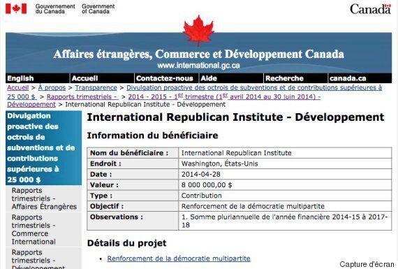 Aide internationale : le Canada a donné 8 M$ à l'International Republican Institute pour aider la démocratie...