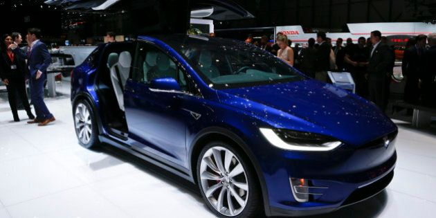 The new Tesla Model X P90D is pictured at the 86th International Motor Show in Geneva, Switzerland, March...