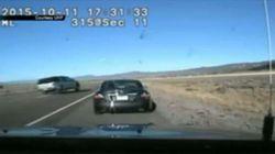 Spectaculaire perte de contrôle filmée par la caméra d'une voiture de