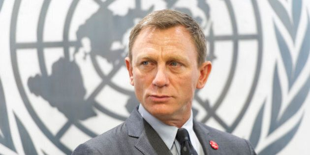 In this photo provided by the United Nations, English actor Daniel Craig attends a ceremony in New York where he was named a UN Global Advocate for the Elimination of  Mines and Explosive Hazards. (Mark Garten/United Nations via AP)