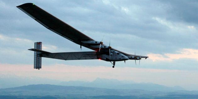 FILE- In this Monday, June 2, 2014 file photo, German test pilot Markus Scherdel steers the solar-powered...