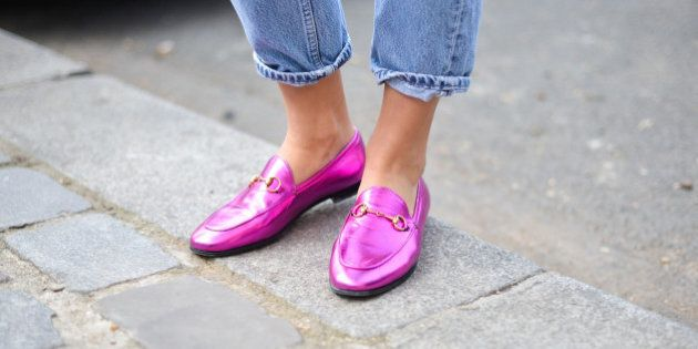 PARIS, FRANCE - OCTOBER 04: Esthelle Pigault poses wearing Gucci loafers before the Celine show at the...