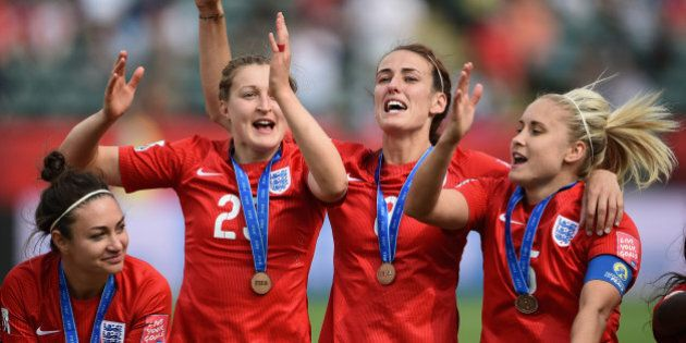 EDMONTON, AB - JULY 04: England players celebrate their third place after the FIFA Women's World Cup...