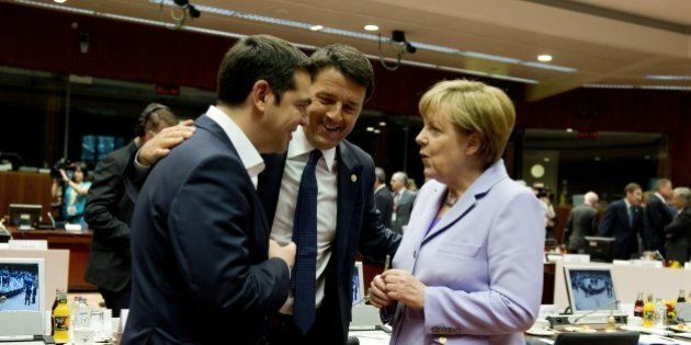 German Chancellor Angela Merkel (R) speaks with Greek Prime minister Alexis Tsipras (L) and Italian prime...
