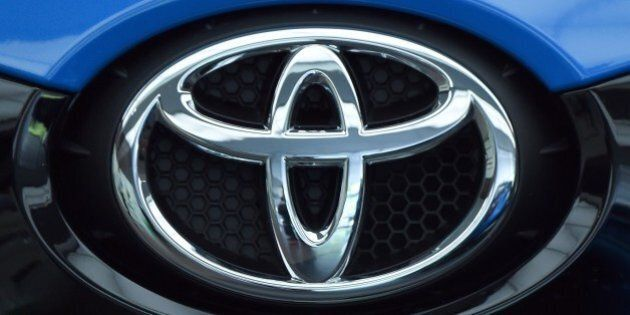 This photo shows a logo of Japan's auto giant Toyota Motor in Tokyo on May 8, 2015. Toyota said May 8...