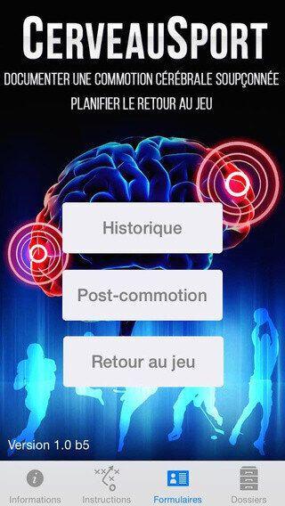 CerveauSport: une application pour gérer sa commotion cérébrale sur iPhone et
