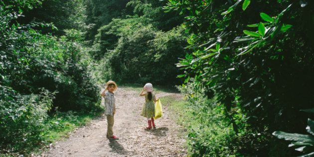 2 young friends walking down a forest