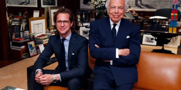 Designer Ralph Lauren, right, poses in his office with Stefan Larsson, global brand president for Old...