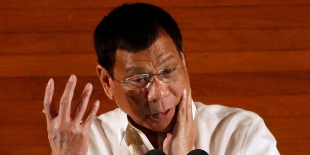 Philippine President Rodrigo Duterte speaks during his first State of the Nation Address at the Philippine...