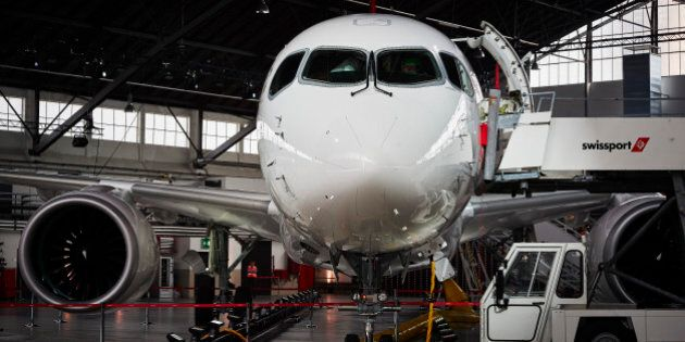 A picture taken at the Zurich Airport in Zurich on July 6, 2016 shows the Swiss International Air Lines' new Bombardier CS 100 passenger jetliner during a media presentation. Swiss International Air Lines' new Bombardier CS 100 jetliner is the first rolled out aircraft of the Canadian Bombardier Commercial Aircraft's new jetliner C-Series aircrafts.    / AFP / MICHAEL BUHOLZER        (Photo credit should read MICHAEL BUHOLZER/AFP/Getty Images)
