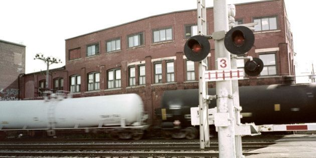 Train crossing in Montreal,