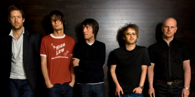 Radiohead band members, from left, Ed O'Brien, guitar, Jonny Greenwood, lead guitar, Colin Greenwood,...