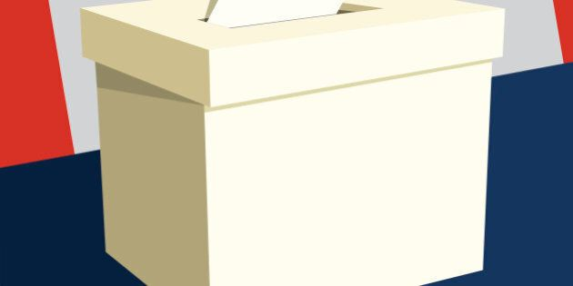 Hand inserting paper into ballot box with Canadian flag in