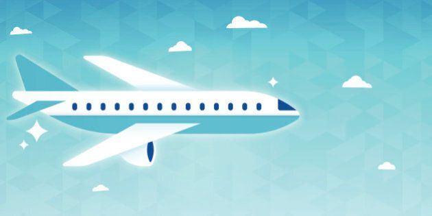 Air travel airplane flight horizontal background. EPS 10 file. Transparency effects used on highlight