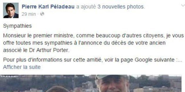 D'ironiques sympathies de PKP à Philippe Couillard suite à l'annonce du décès d'Arthur