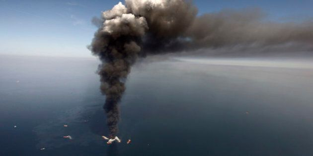FILE - In this Wednesday, April 21, 2010 file photo, oil can be seen in the Gulf of Mexico, more than...