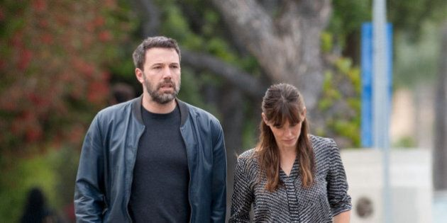 LOS ANGELES, CA - APRIL 24: Ben Affleck and Jennifer Garner are seen in Brentwood on April 24, 2015 in...