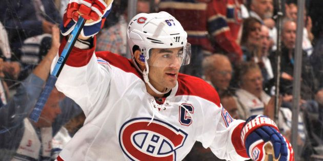 TORONTO, ON - OCTOBER 7: Max Pacioretty #67 of the Montreal Canadiens celebrates a first period goal...