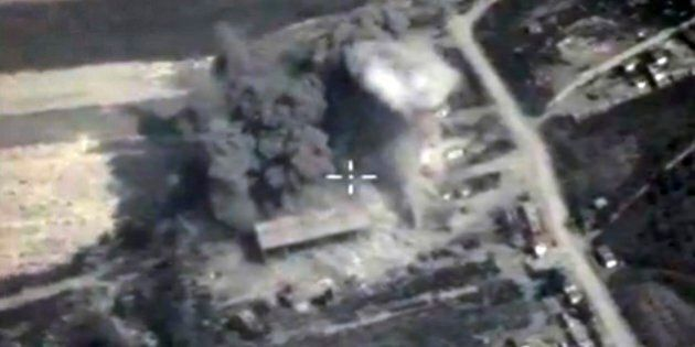 In this photo made from the footage taken from Russian Defense Ministry official web site on Sunday,...