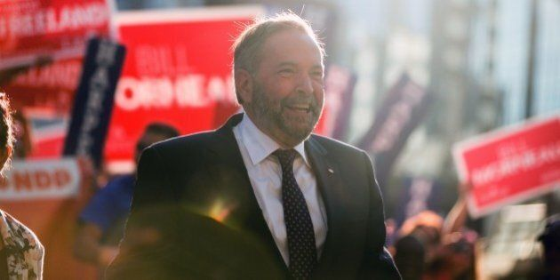 NDP leader Tom Mulcair arrives for the first federal leaders debate of the 2015 Canadian election campaign...