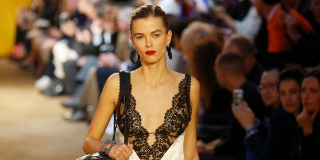 A model wears a creation for Celine's Spring-Summer 2016 ready-to-wear fashion collection, presented...