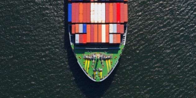 Aerial photo of the front end of a large fully loaded container