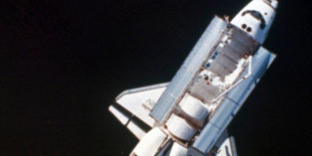 View of shuttle and Earth from