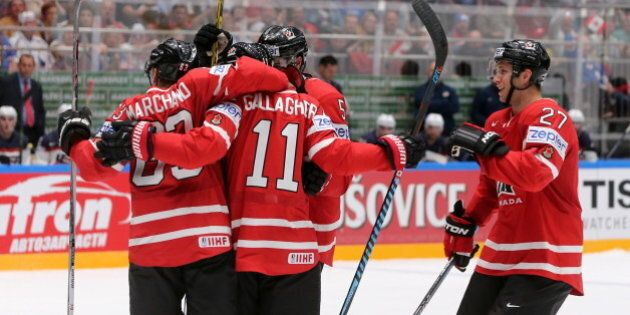 ST. PETERSBURG, RUSSIA. MAY 6, 2016. Canada's Brad Marchand, Brendan Gallagher, and Ryan Murray (L-R)...