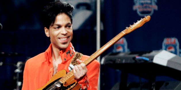 01 February 2007: Super Bowl half time show performer Prince performs for the media at the Half Time...
