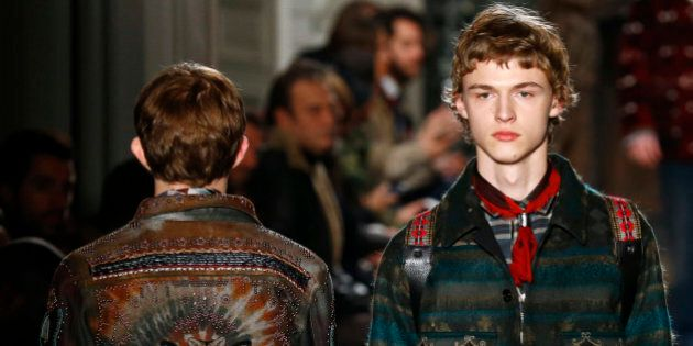 Models wear creations for Valentino men's Fall-Winter 2016/2017 fashion collection presented Wednesday,...