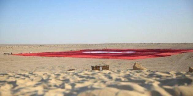 Le «plus grand drapeau du monde» déployé en Tunisie, mais sans vues