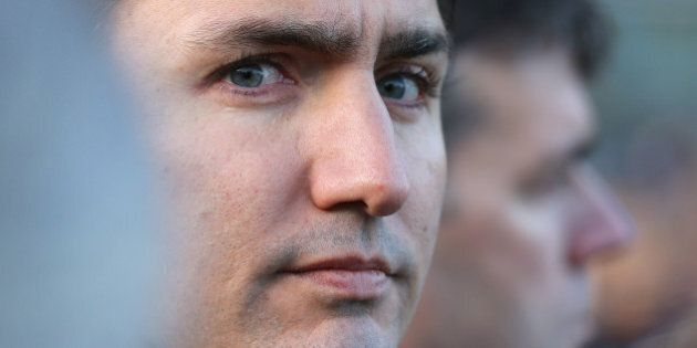 OTTAWA, ON- OCTOBER 23 - Liberal Leader Justin Trudeau looks toward the War Memorial during a vigil in...