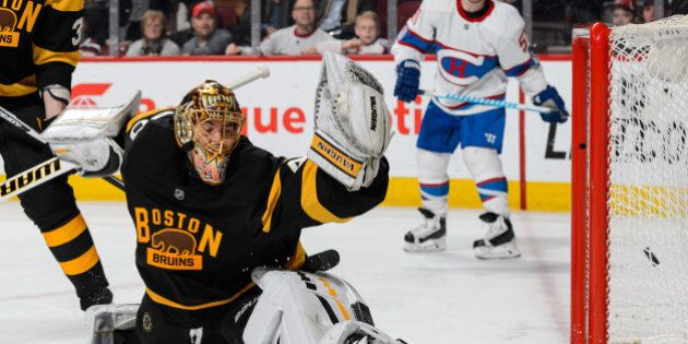 MONTREAL, QC - JANUARY 19: Tuukka Rask #40 of the Boston Bruins allows a goal in the second period during...
