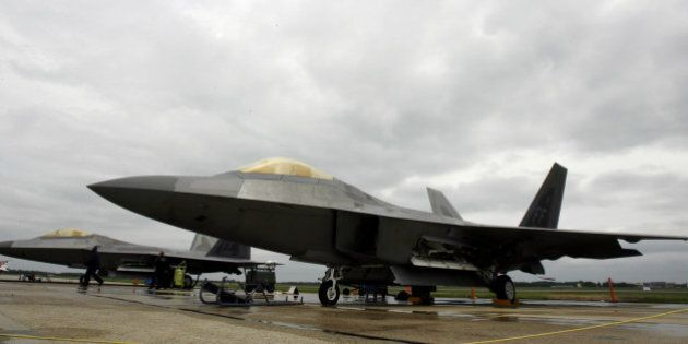 Two of the newest fighter aircraft the F22 Raptor during the Joint Service Open Hose Air Show at Andrews...