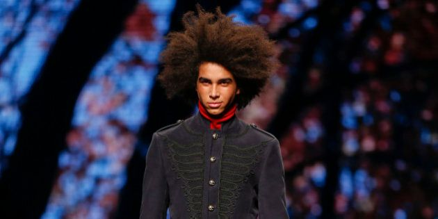 A model wears a creation for Etro men's Fall-Winter 2016-2017 collection, part of the Milan Fashion Week,...