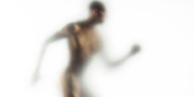 Naked young man walking