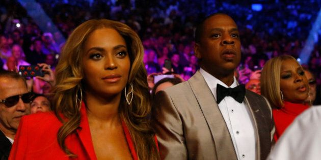 LAS VEGAS, NV - MAY 02: Beyonce Knowles and Jay Z attend the welterweight unification championship bout...