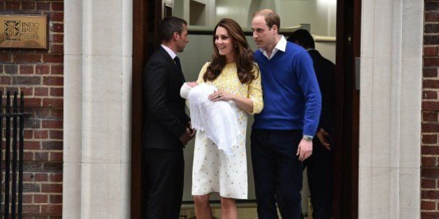 Britain's Prince William, Duke of Cambridge, and his wife Catherine, Duchess of Cambridge show their...