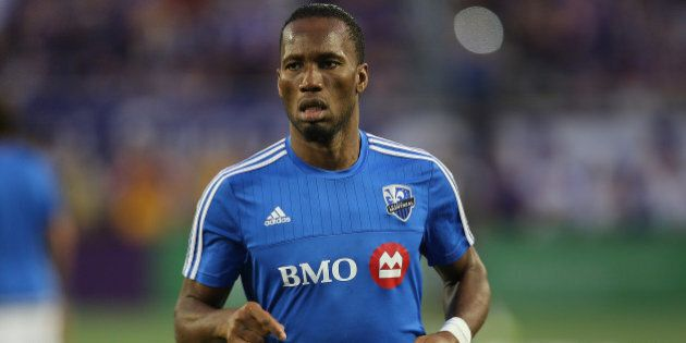 ORLANDO, FL - OCTOBER 03: Didier Drogba #11 of Montreal Impact is seen as he warms up prior to a MLS...