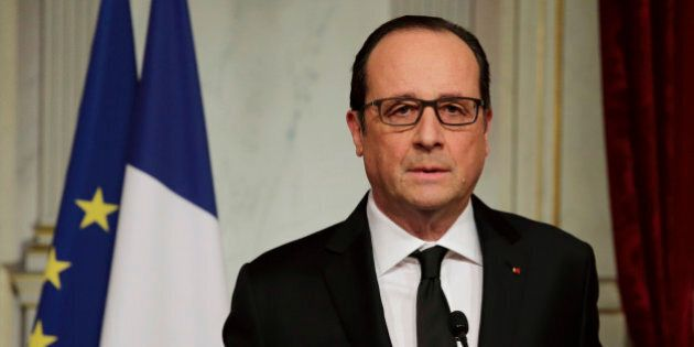 French President Francois Hollande delivers a speech at the Elysee Palace in Paris after a shooting at...
