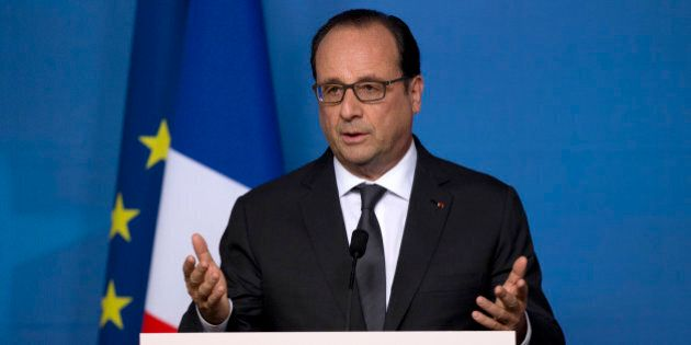 FILE - In this June 22, 2015, file photo, French President Francois Hollande speaks during a media conference...