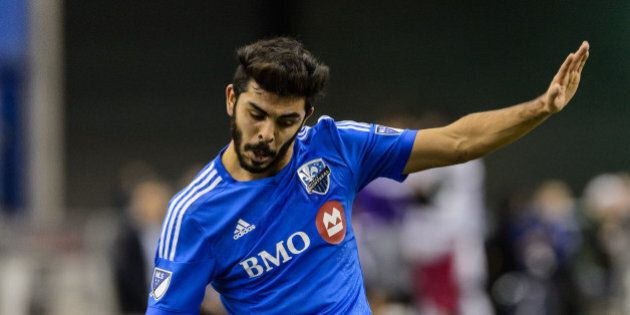 MONTREAL, QC - MARCH 28: Victor Cabrera #36 of the Montreal Impact prepares to play the ball during the...