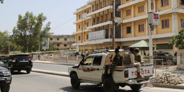 MOGADISHU, SOMALIA - JANUARY 2: Somalian security forces on patrol around the he scene of a suicide attack...