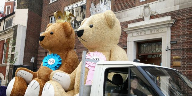 LONDON, ENGLAND - MAY 01: Two giant bears from a bookmakers travel past the Lindo Wing as they World's...